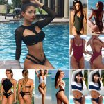 WOMEN'S LONG SLEEVE Swimwear Push-up Bikini - Commander Sexy Bikini RashGuard Manche longue -41% Réduction